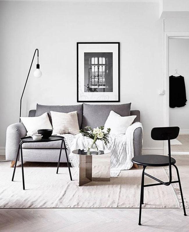 deco salon blanc noir moderne
