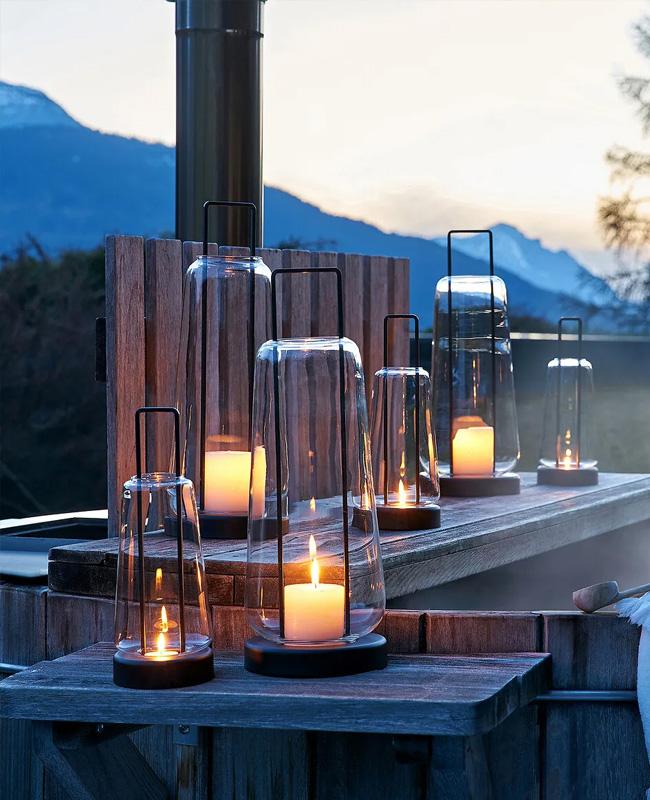 lanterne jardin verre metal moderne