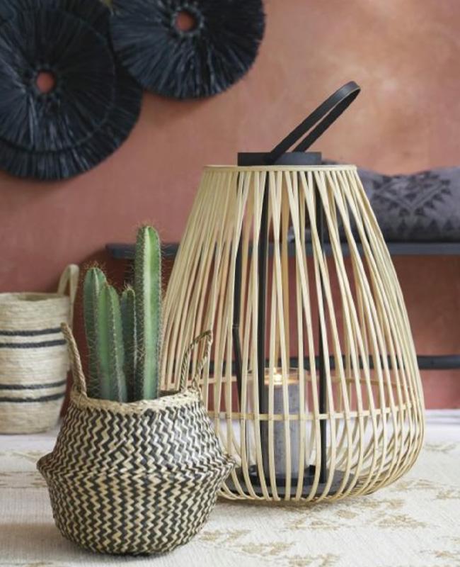 lanterne jardin bambou anse