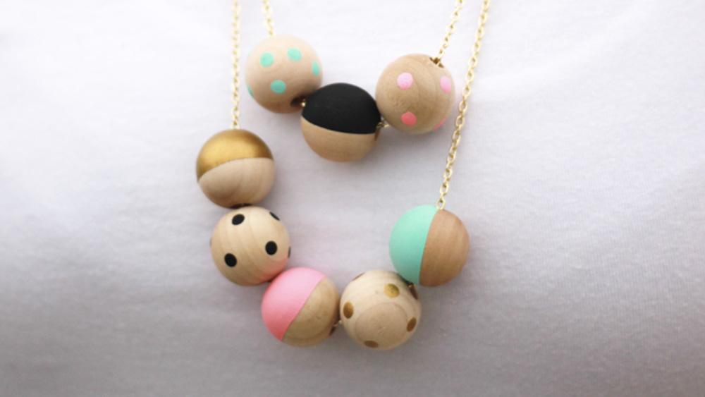 collier perle bois diy