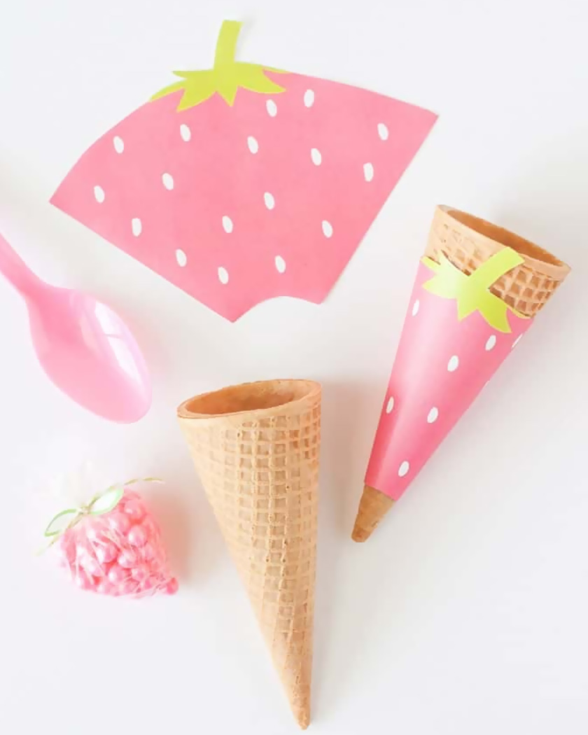 cone fraise glace diy