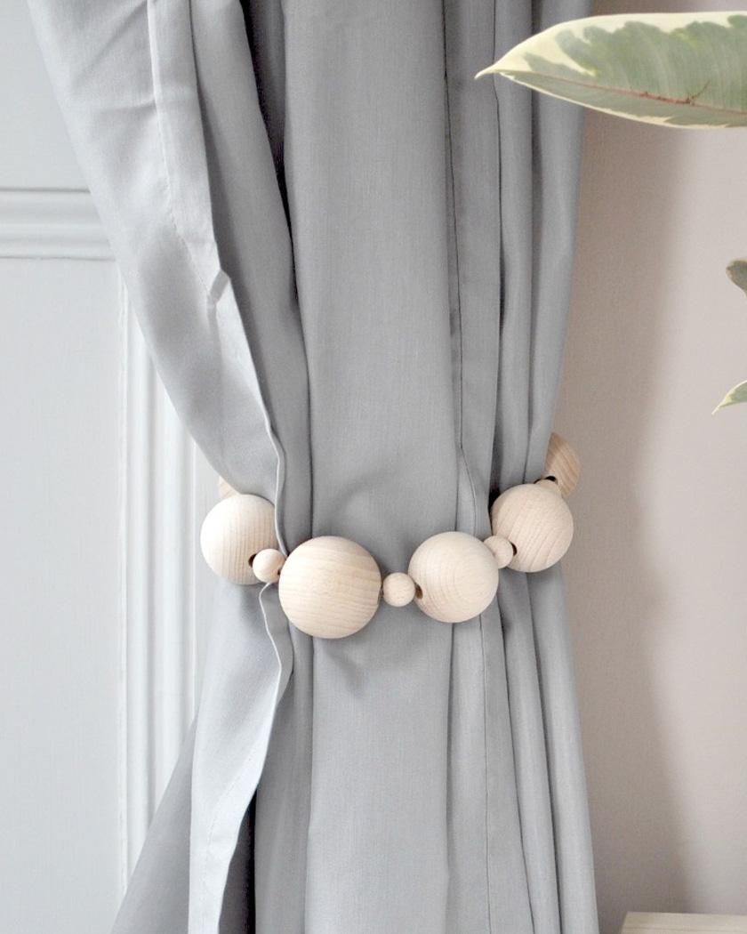 embrasse rideau diy perles bois
