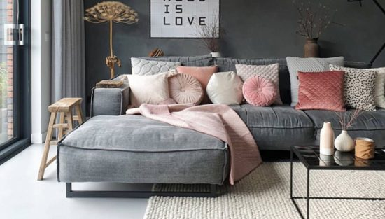 deco salon gris rose