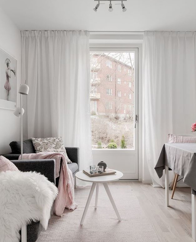deco salon scandinave gris rose