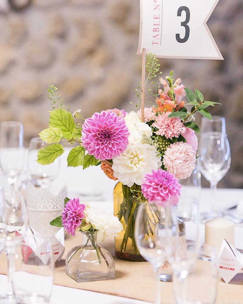 centre table mariage diy bocaux