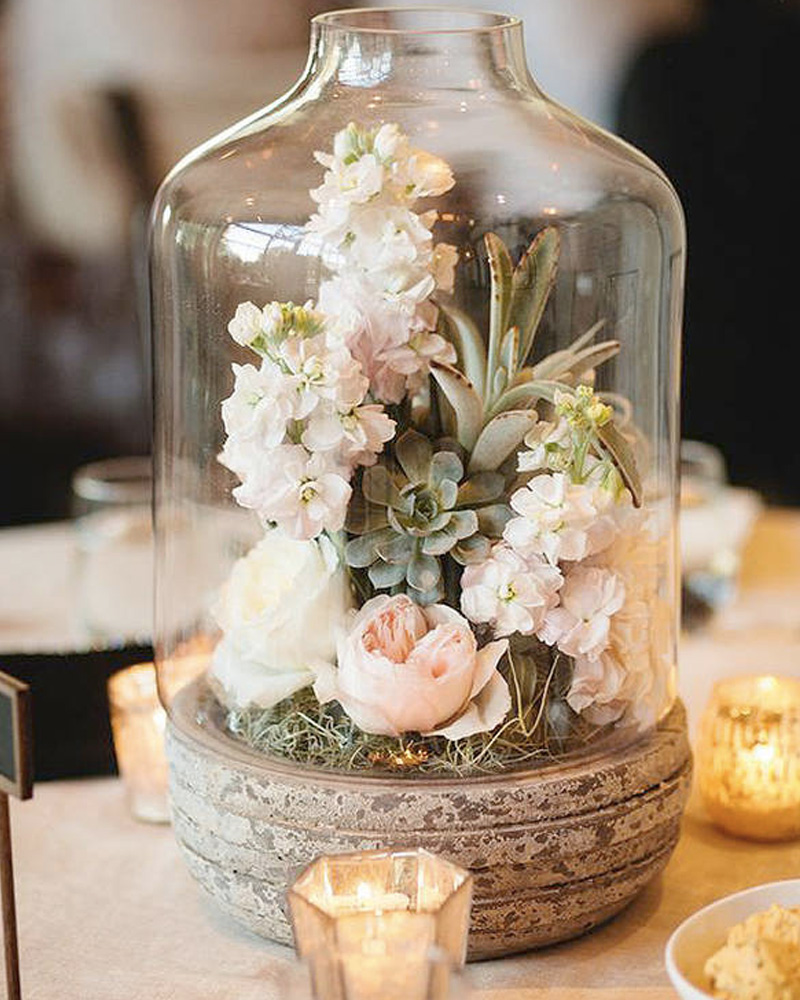 centre table mariage diy cloche