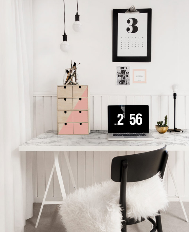 bureau marbre diy