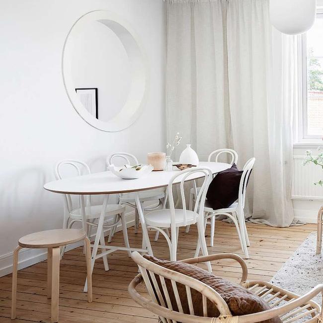 deco séjour salle à manger scandinave blanc bois