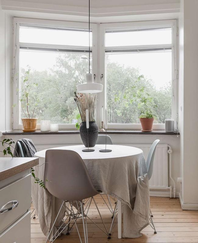 deco séjour salle à manger scandinave nappe lin chaises dsl