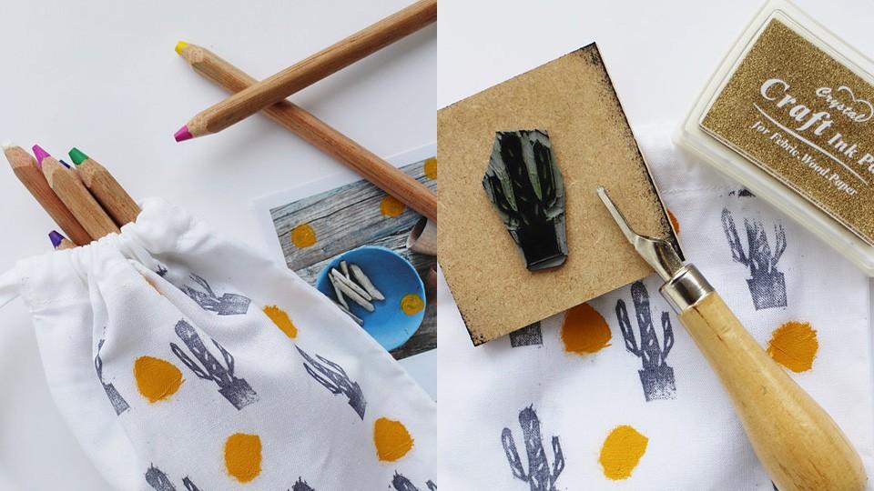 diy cactus pochette