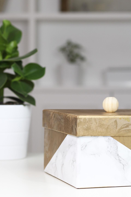 boite dorée marbre diy