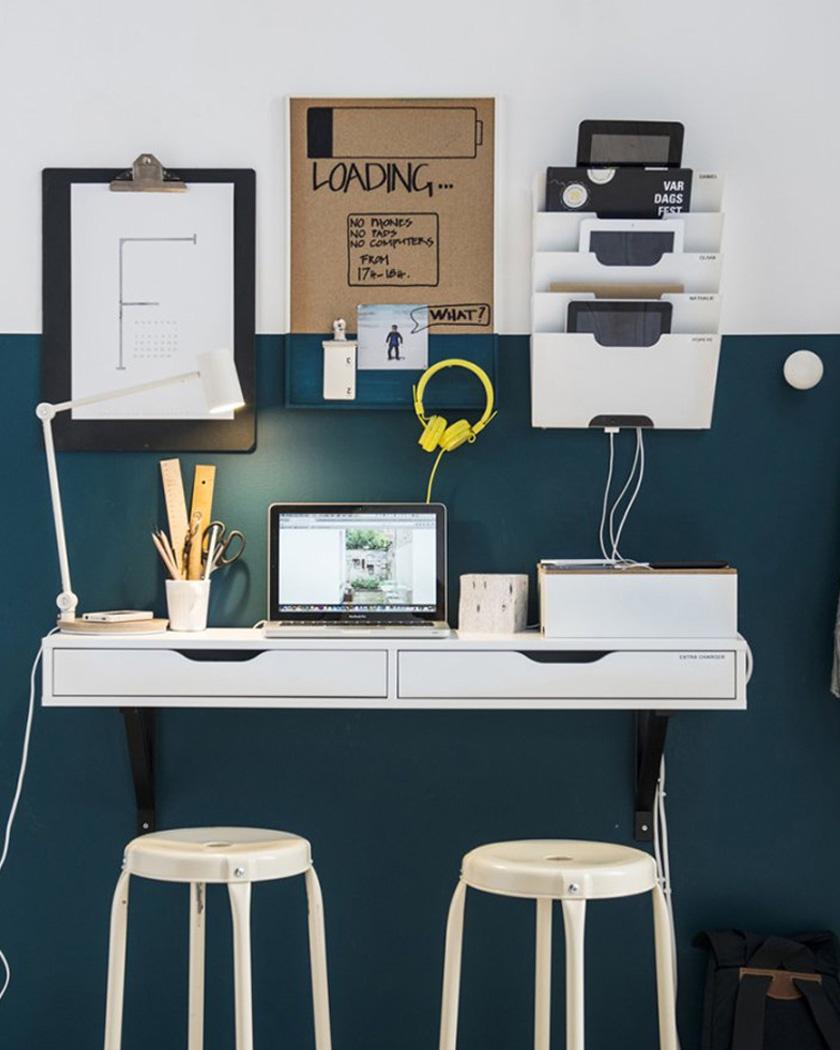 deco bleu canard bureau moderne blanc noir