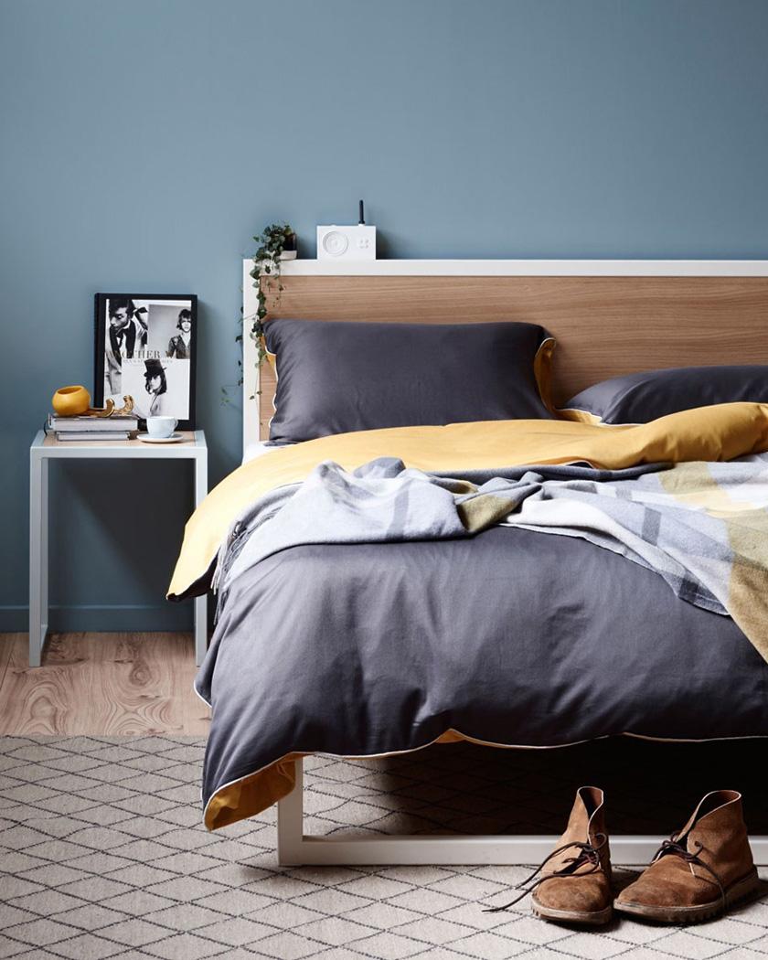 deco bleu canard chambre mur tête de lit