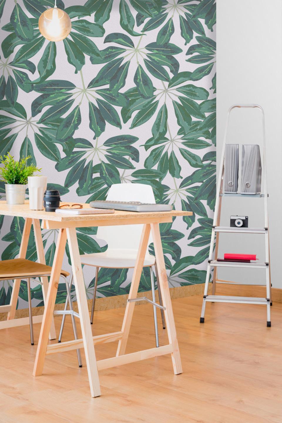 papier peint tropical bureau