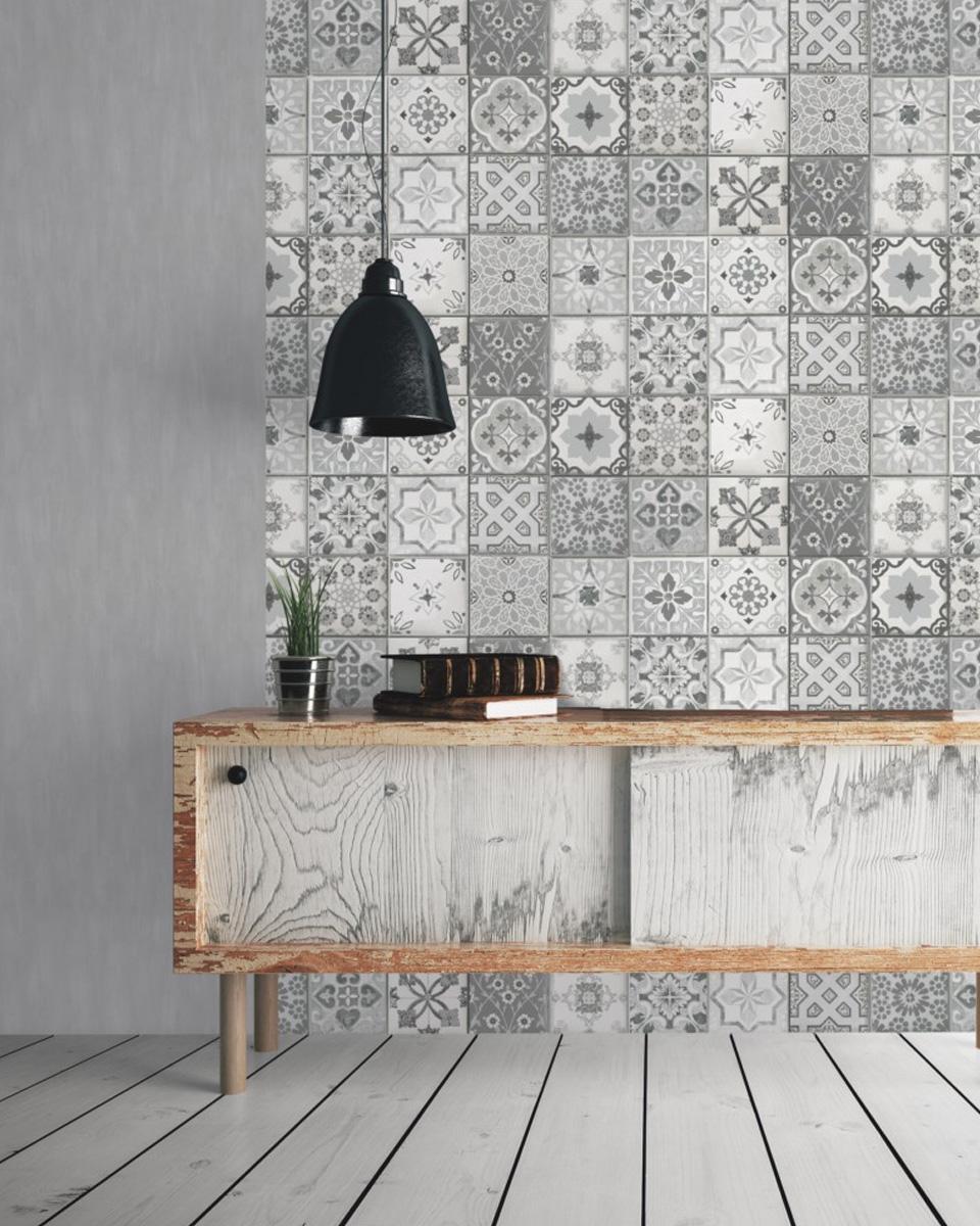 carreaux de ciment deco papier peint salon