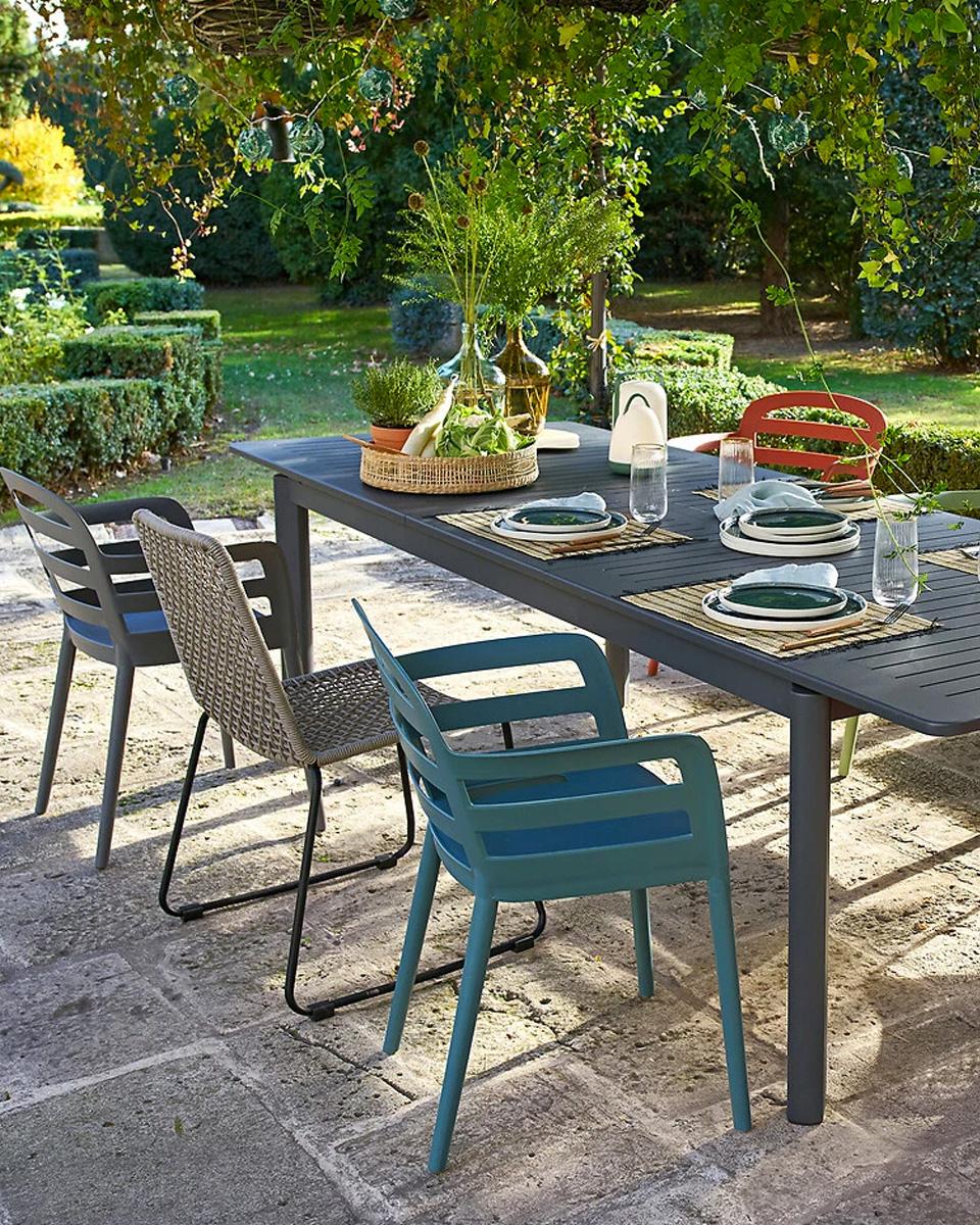 table jardin métal gris