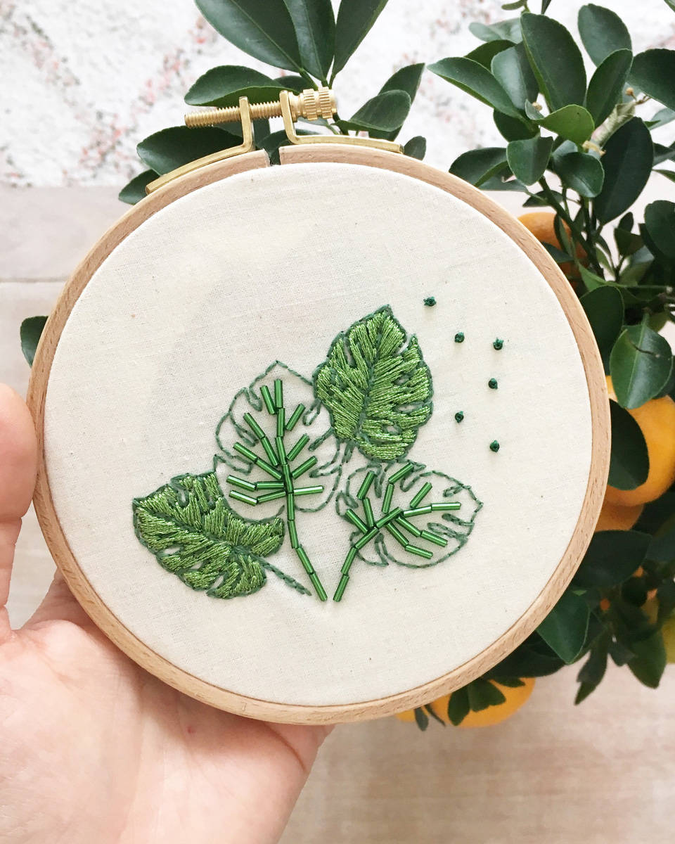 deco plante monstera broderie