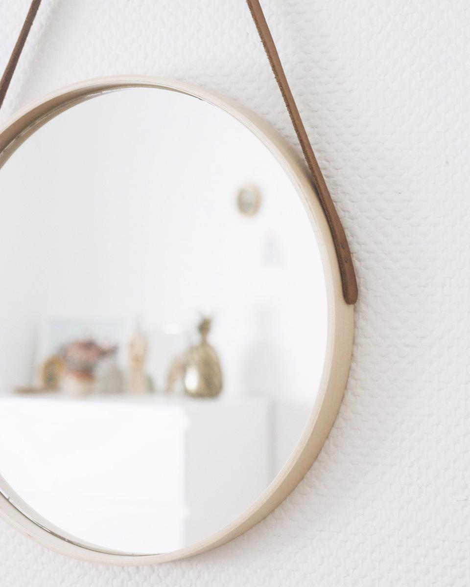 miroir rond diy bois cuir