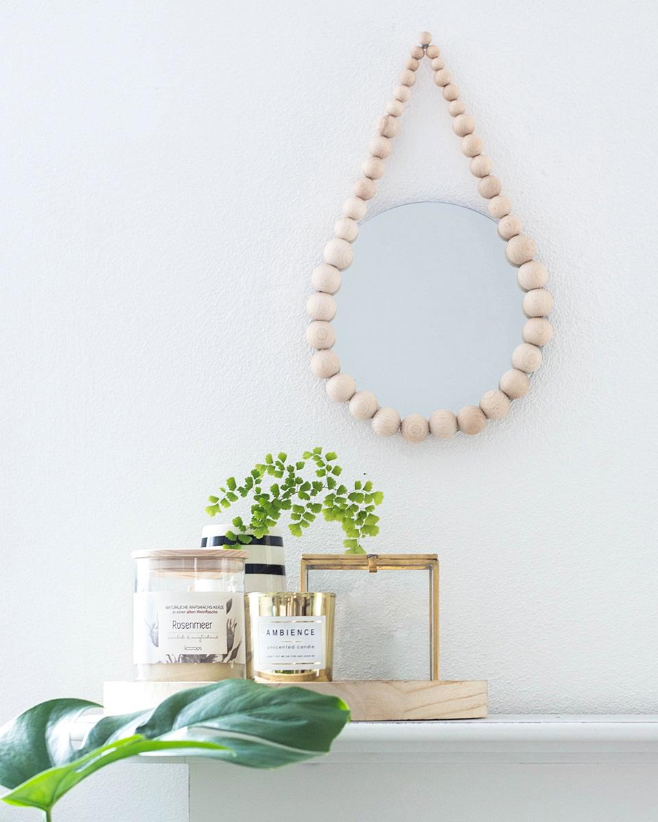 miroir rond diy perles