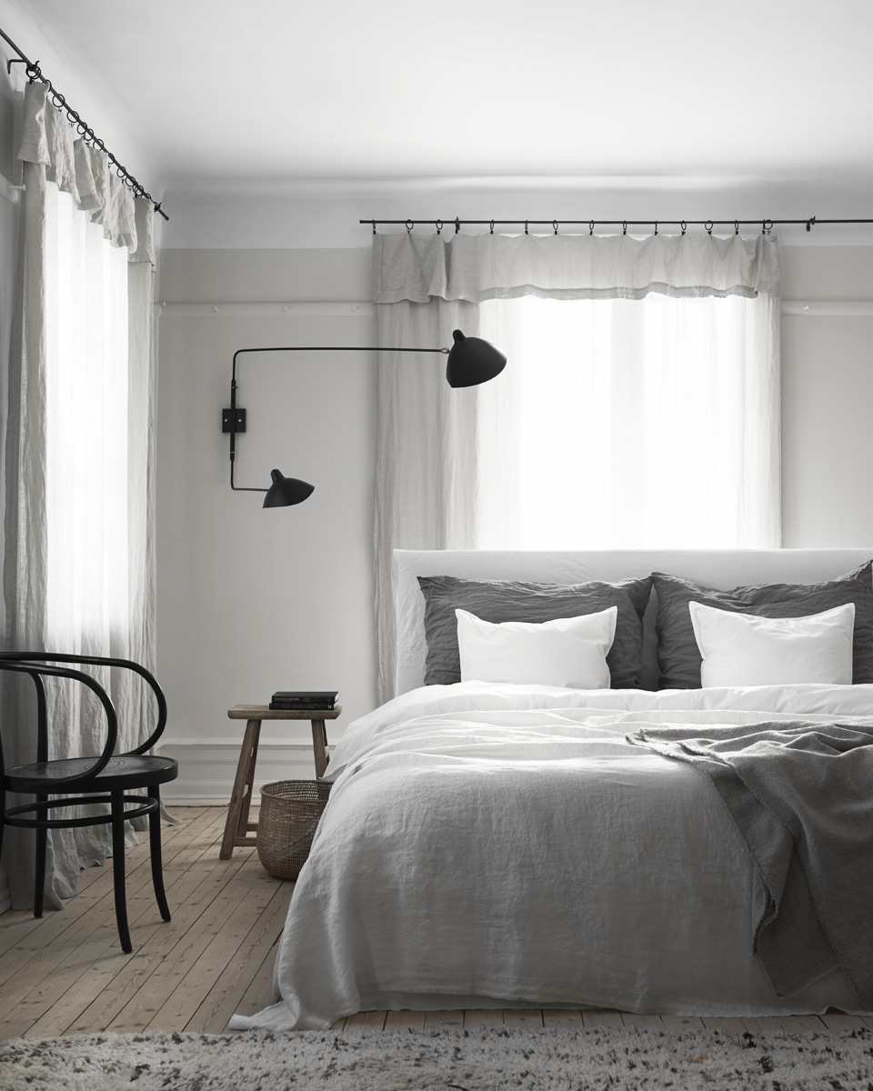 deco gris linge de lit