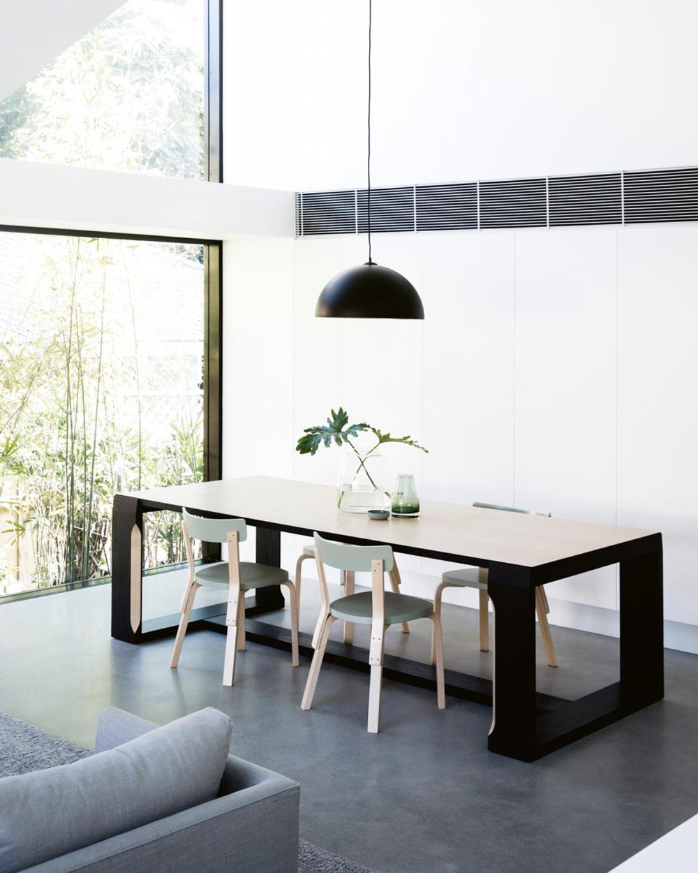 salle à manger contemporaine chaise vert menthe