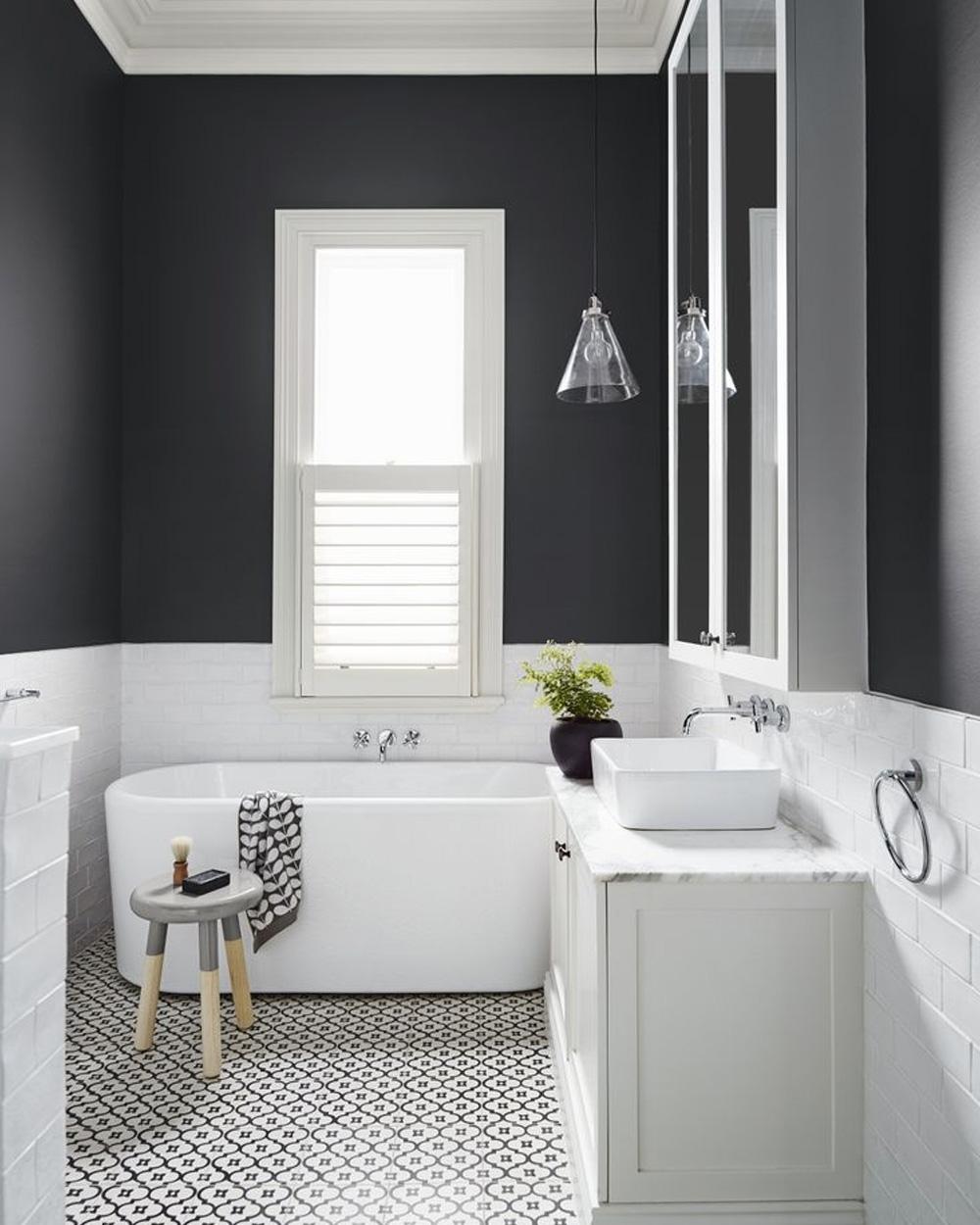 deco salle de bain noir et gris