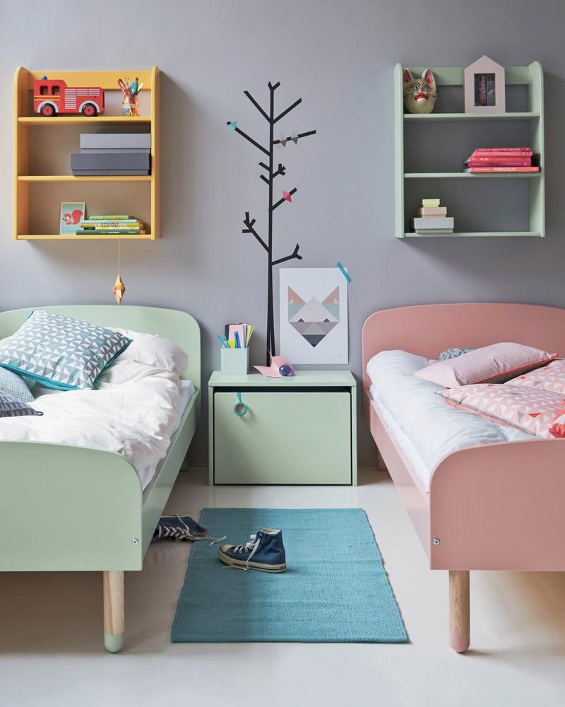 deco chambre double enfant lit coloré