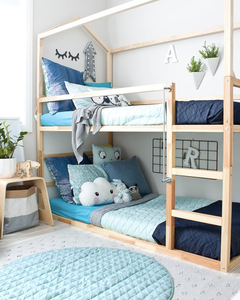 deco chambre double enfant lit superposé pin