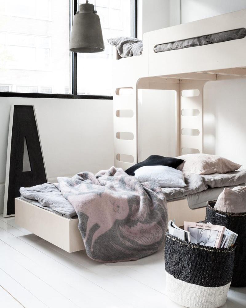 deco chambre double enfant lit superposé moderne