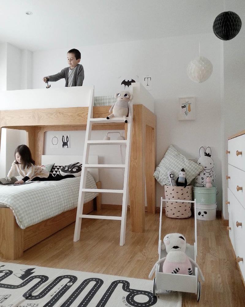 deco chambre double enfant lit superposé blanc bois