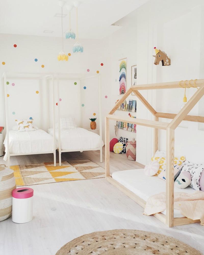 deco chambre double enfant lit blanc