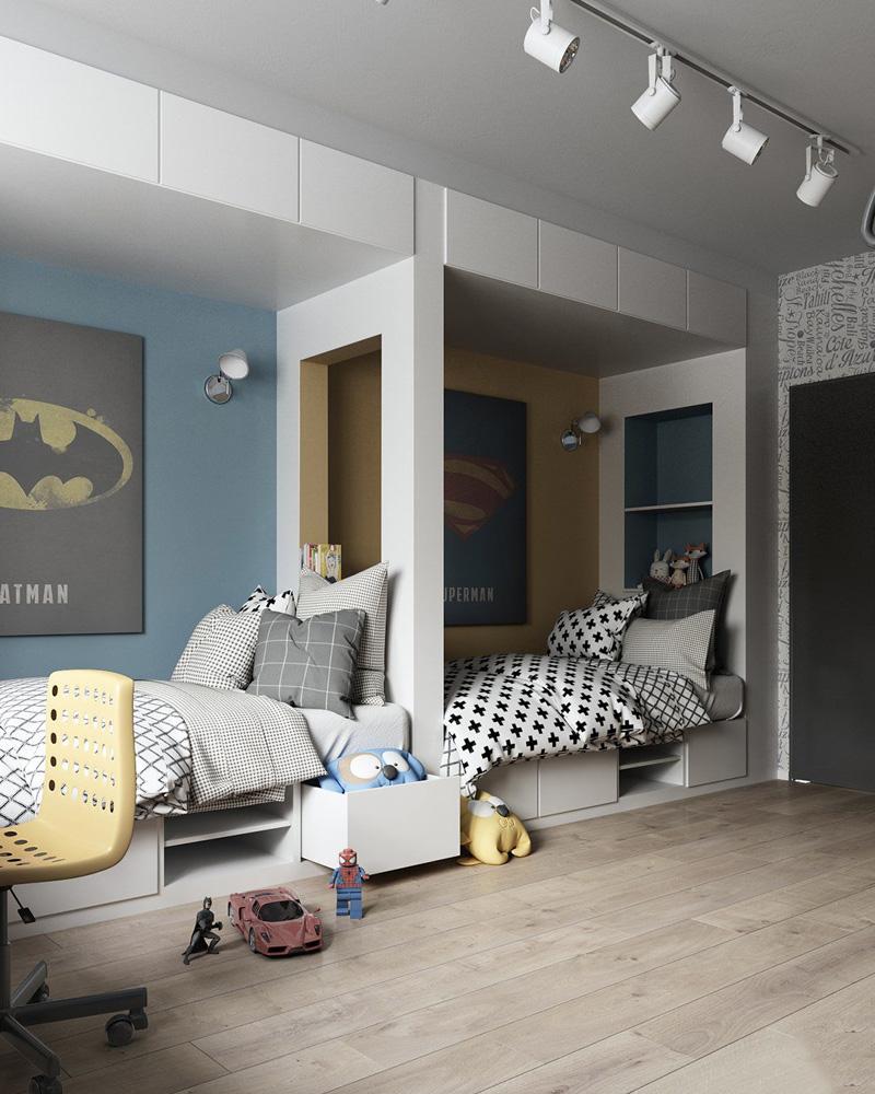 deco chambre double enfant lit cabane