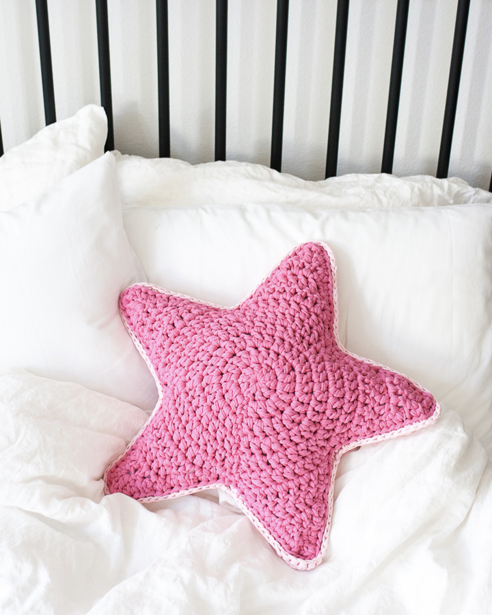 coussin tricot diy étoile