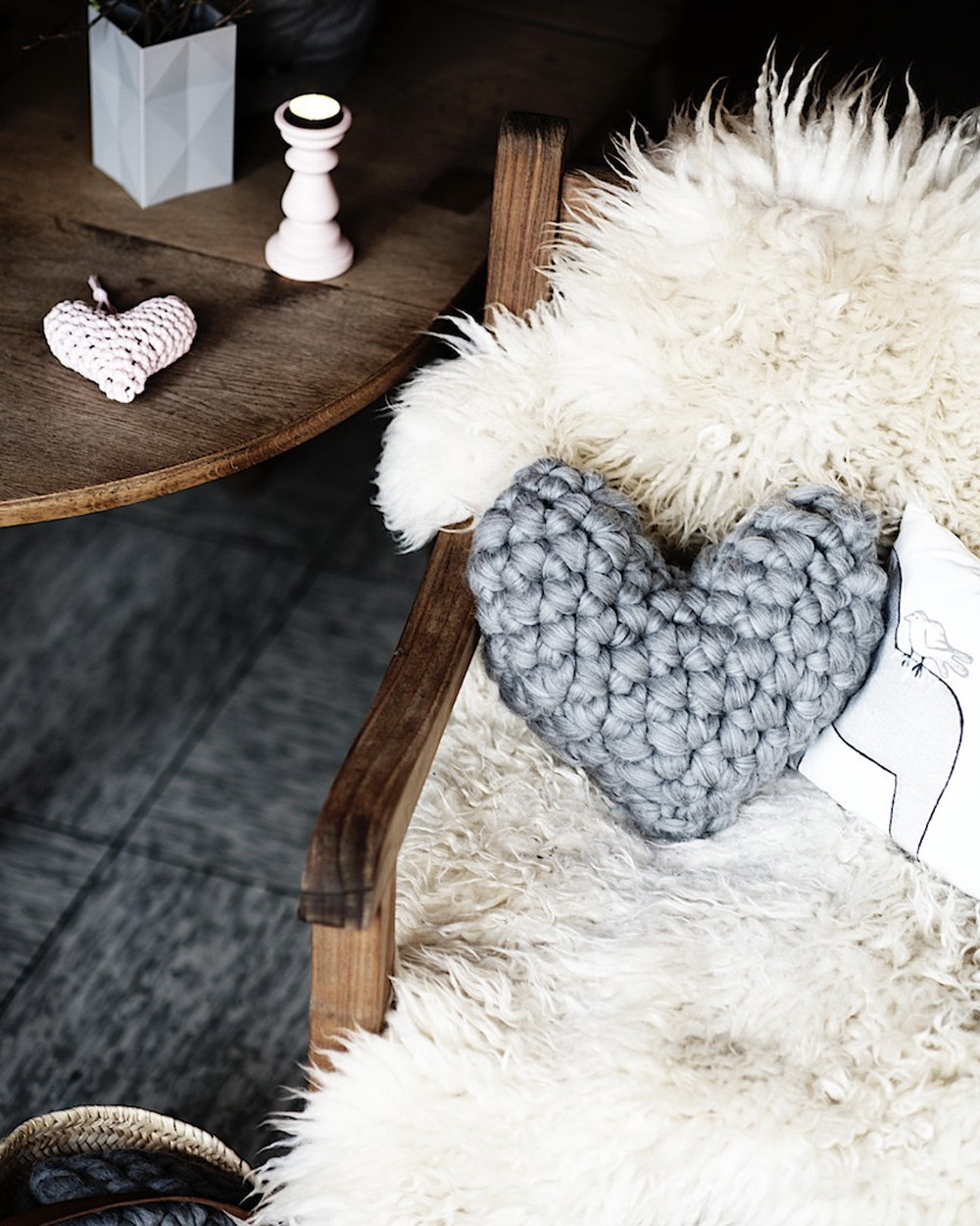 coussin tricot diy coeur