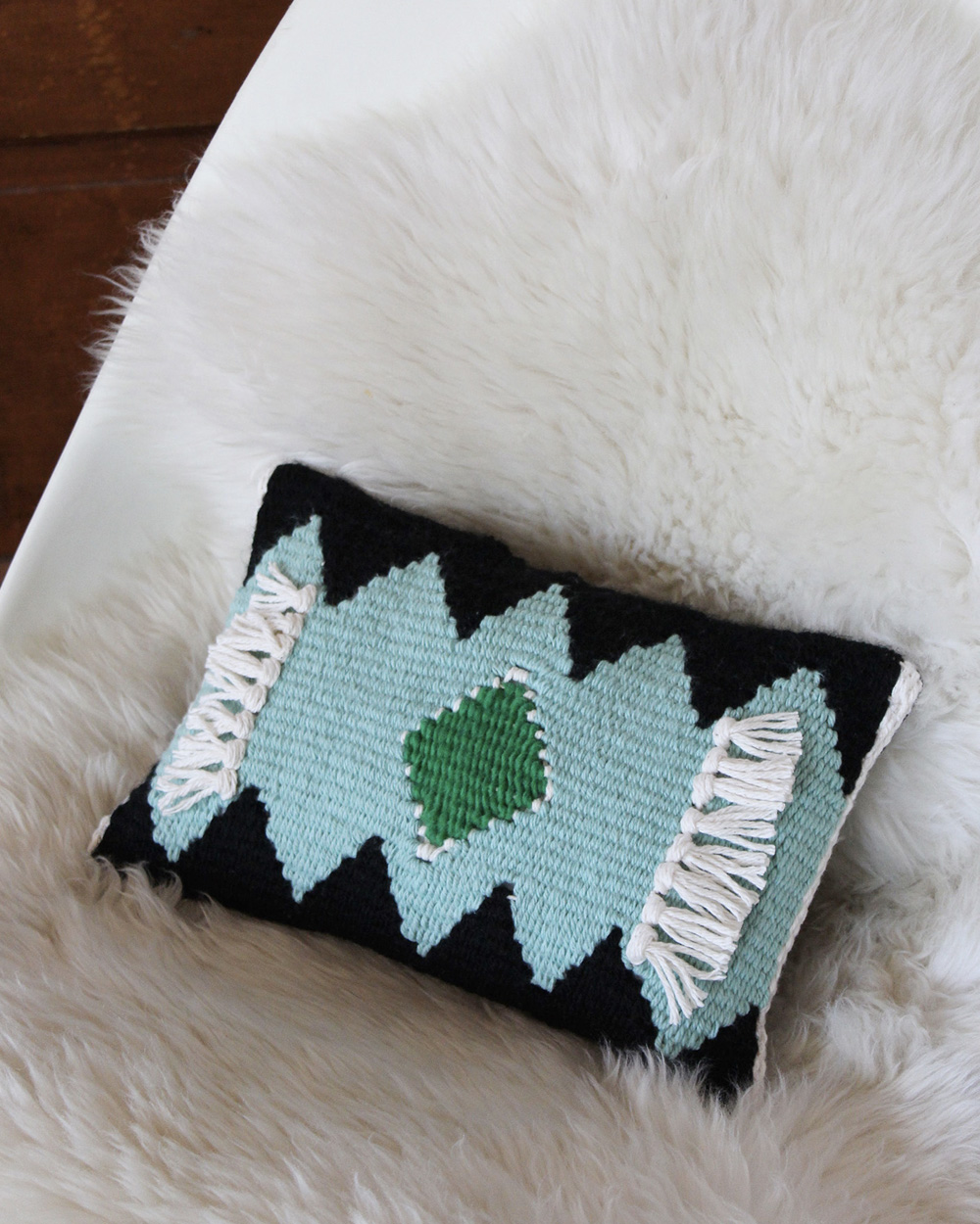coussin tricot diy tissage