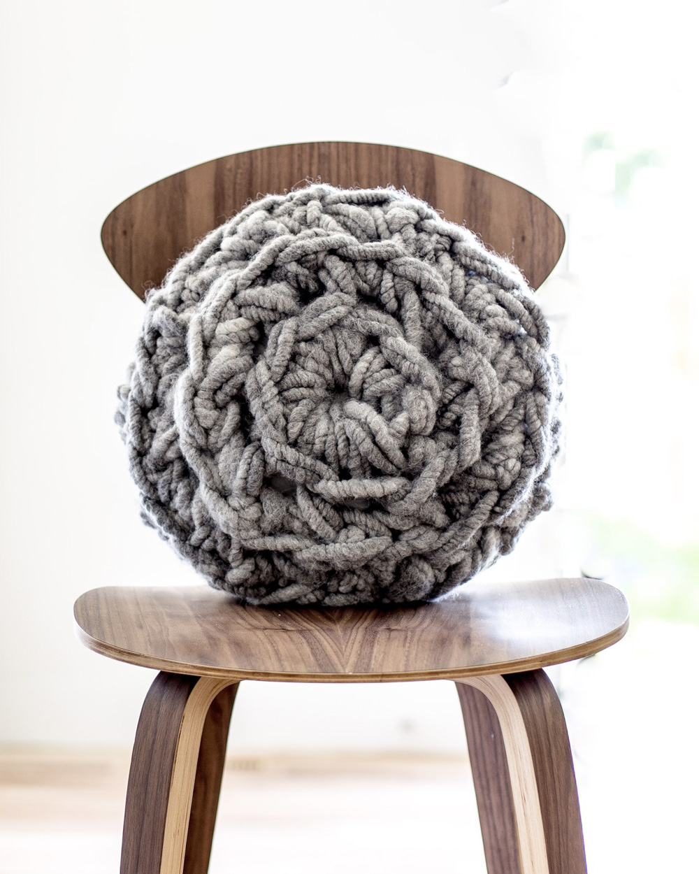 coussin tricot diy rond