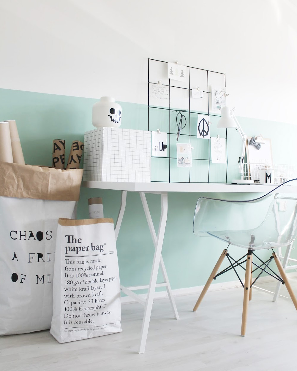 deco bureau pastel mur vert