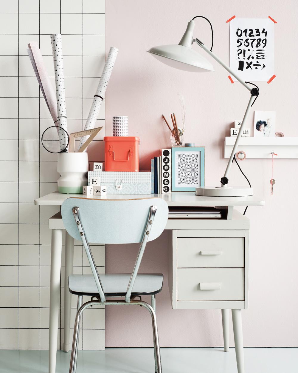 deco bureau pastel mur rose