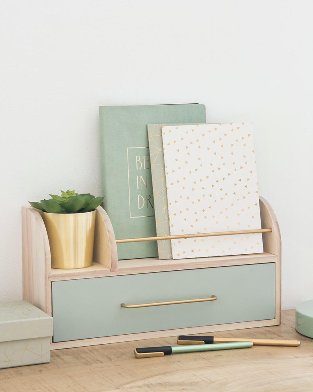 deco bureau pastel accessoire vert