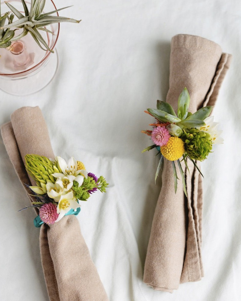 diy rond serviette fleur