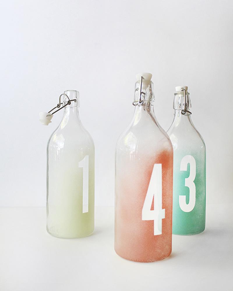 diy numéro de table bouteille