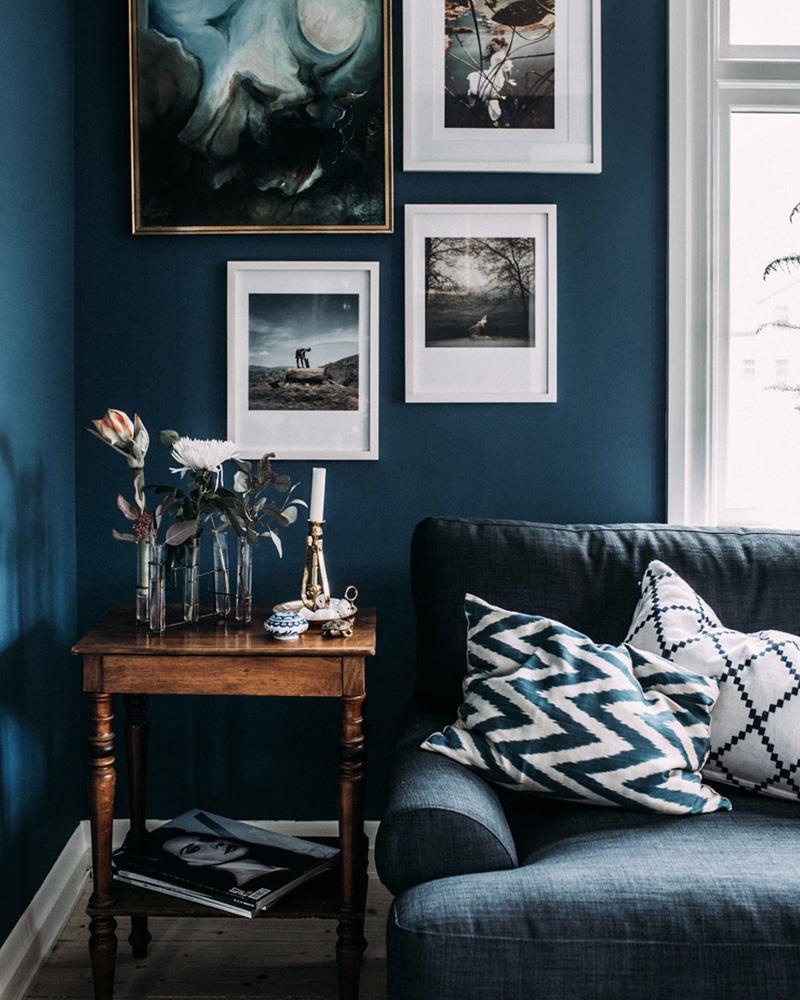 deco salon bleu mur