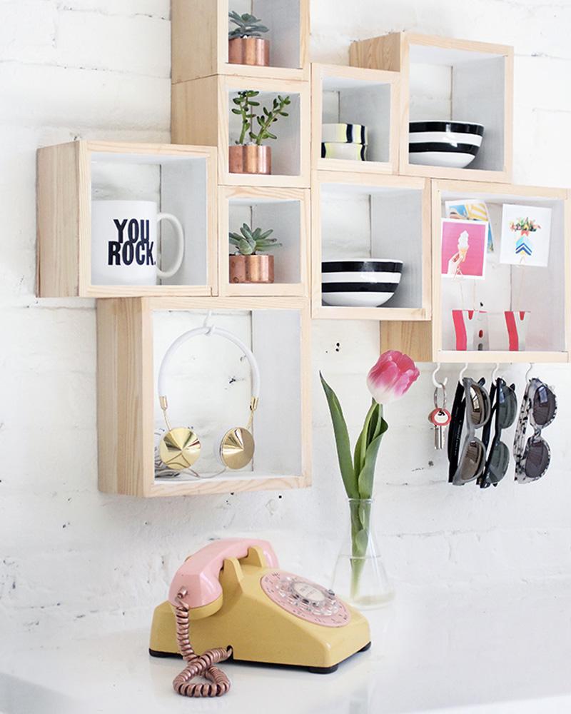 diy caisse bois étagère murale