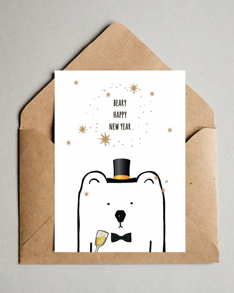 diy carte de voeux à imprimer ours