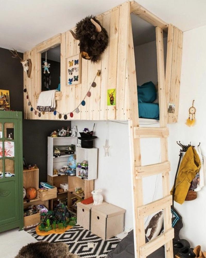 idée déco bois lit cabane