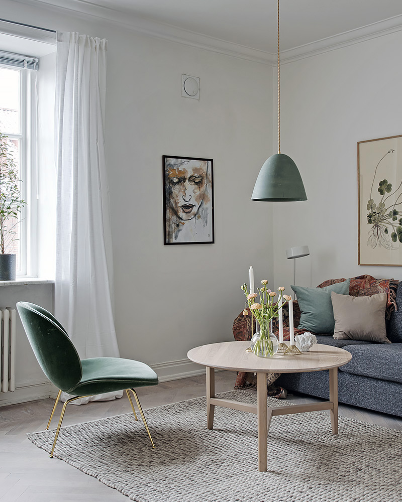 deco salon vert fauteuil