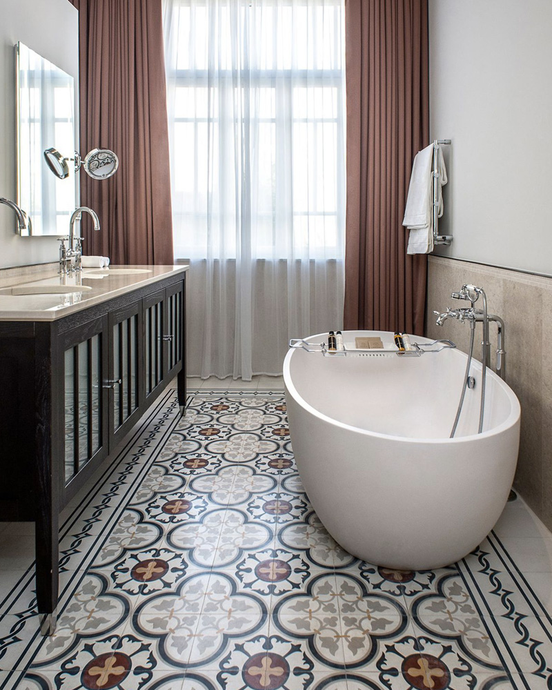 deco carreaux ciment salle de bain sol