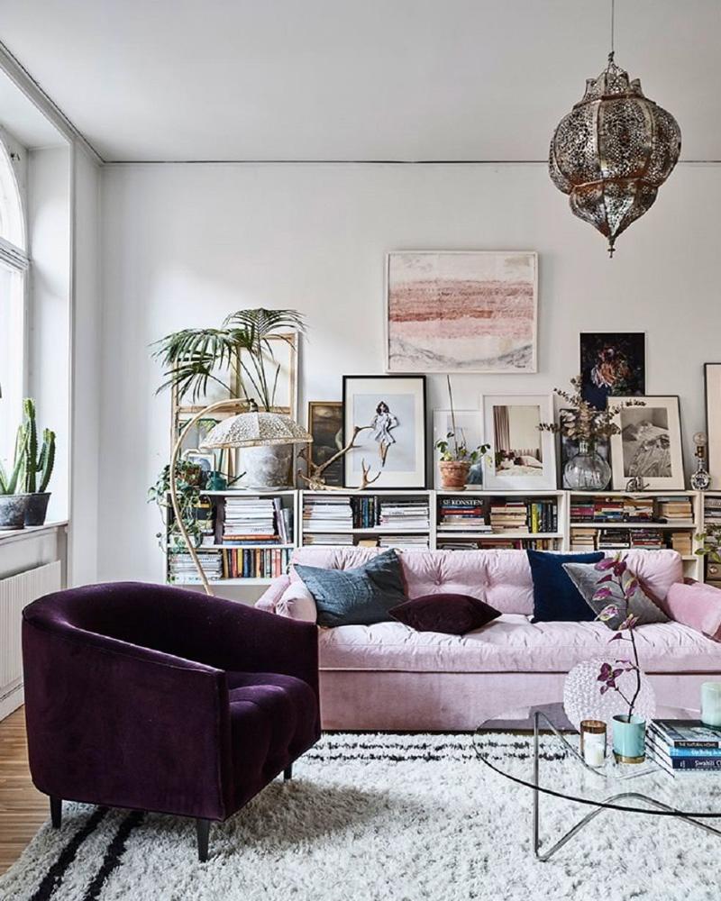 deco violet salon fauteuil