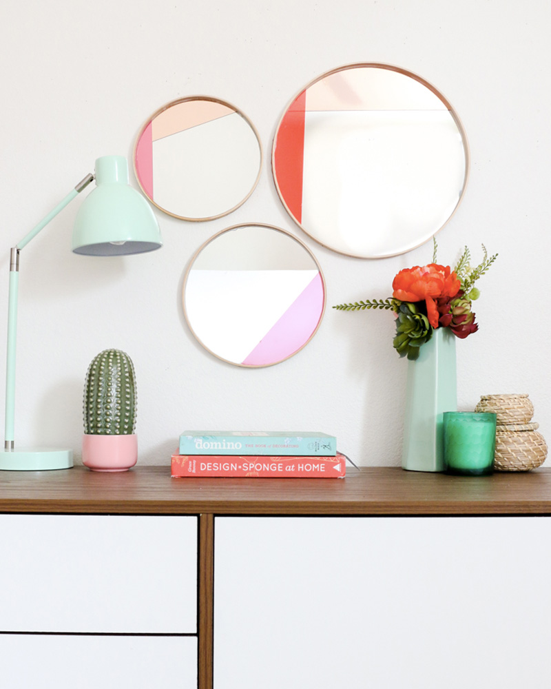 miroir diy mural color block