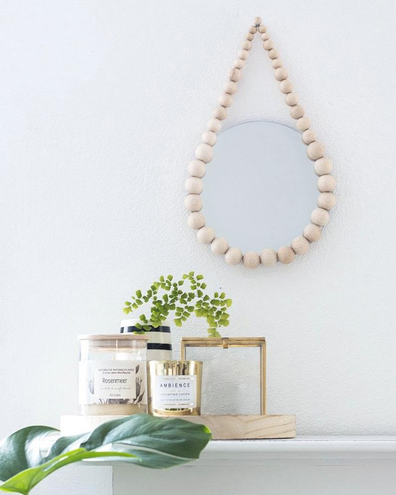 miroir diy mural perles bois